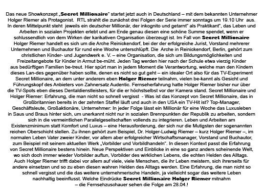 Secret Millionaire: Holger Riemer als Protagonist bei RTL