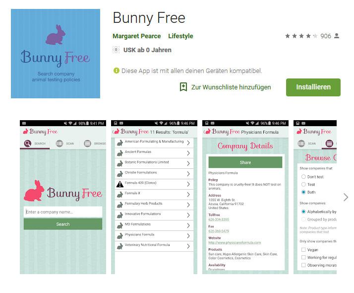 Smartphone App für das prüfen von cruelty-free Kosmetik Produkten